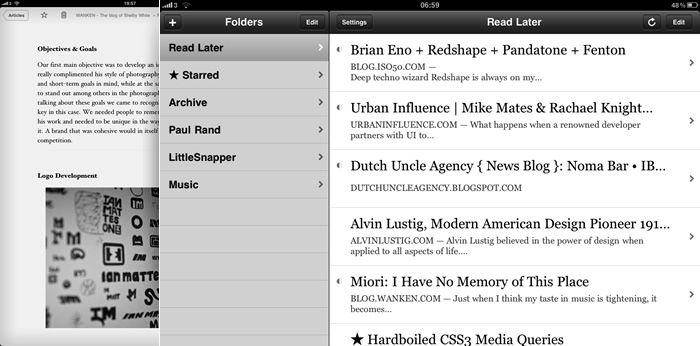 Instapaper interface screenshots